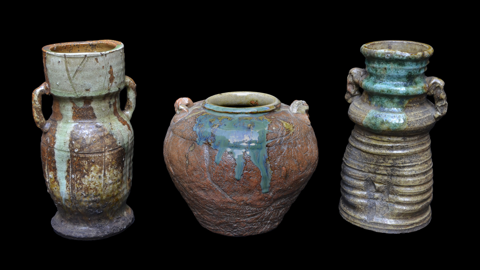 A Collection of Three Fine Old Shigaraki Vases from Japan