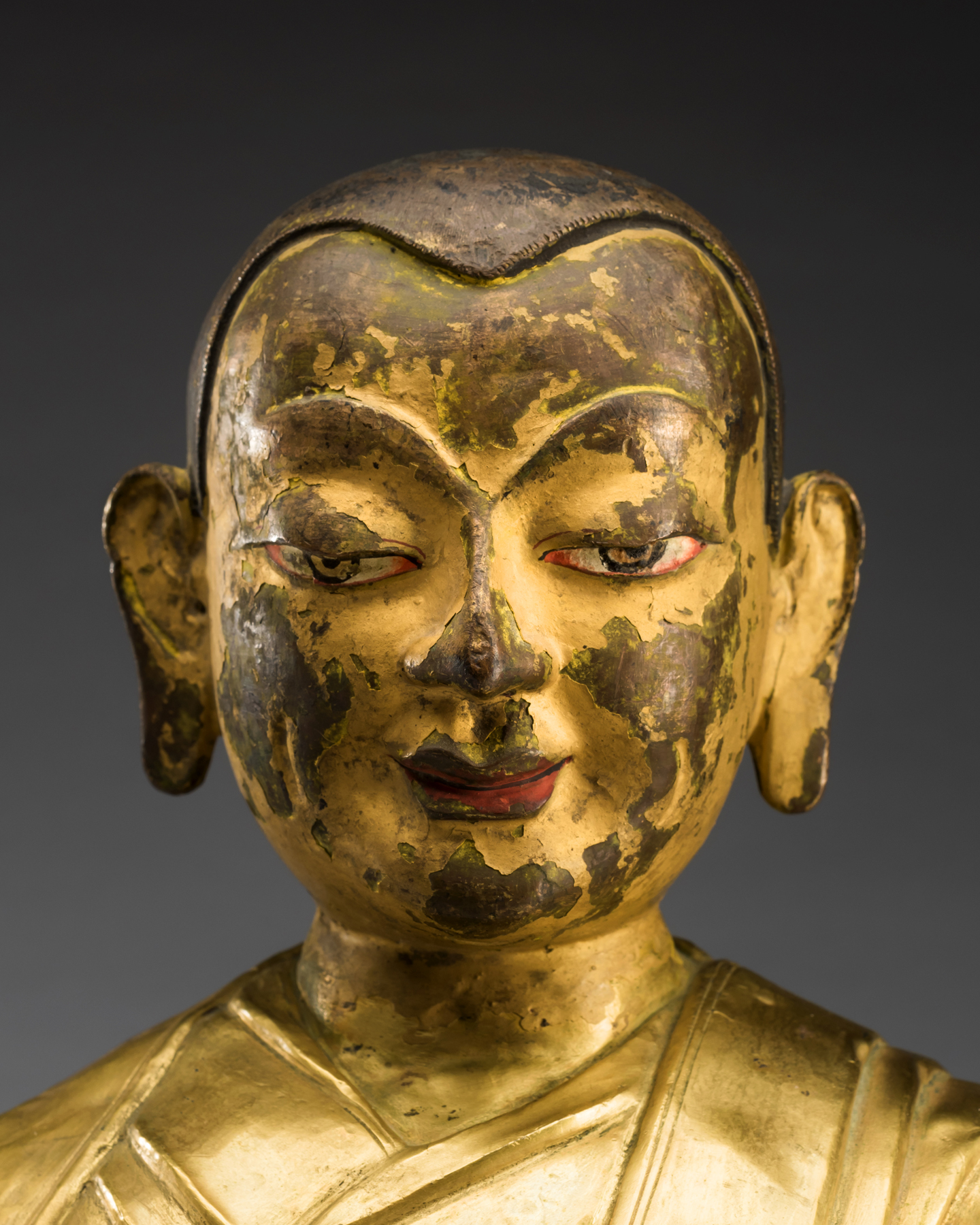 A Gilt Bronze Figure of a Buddhist Lama Tibet 18th Century
