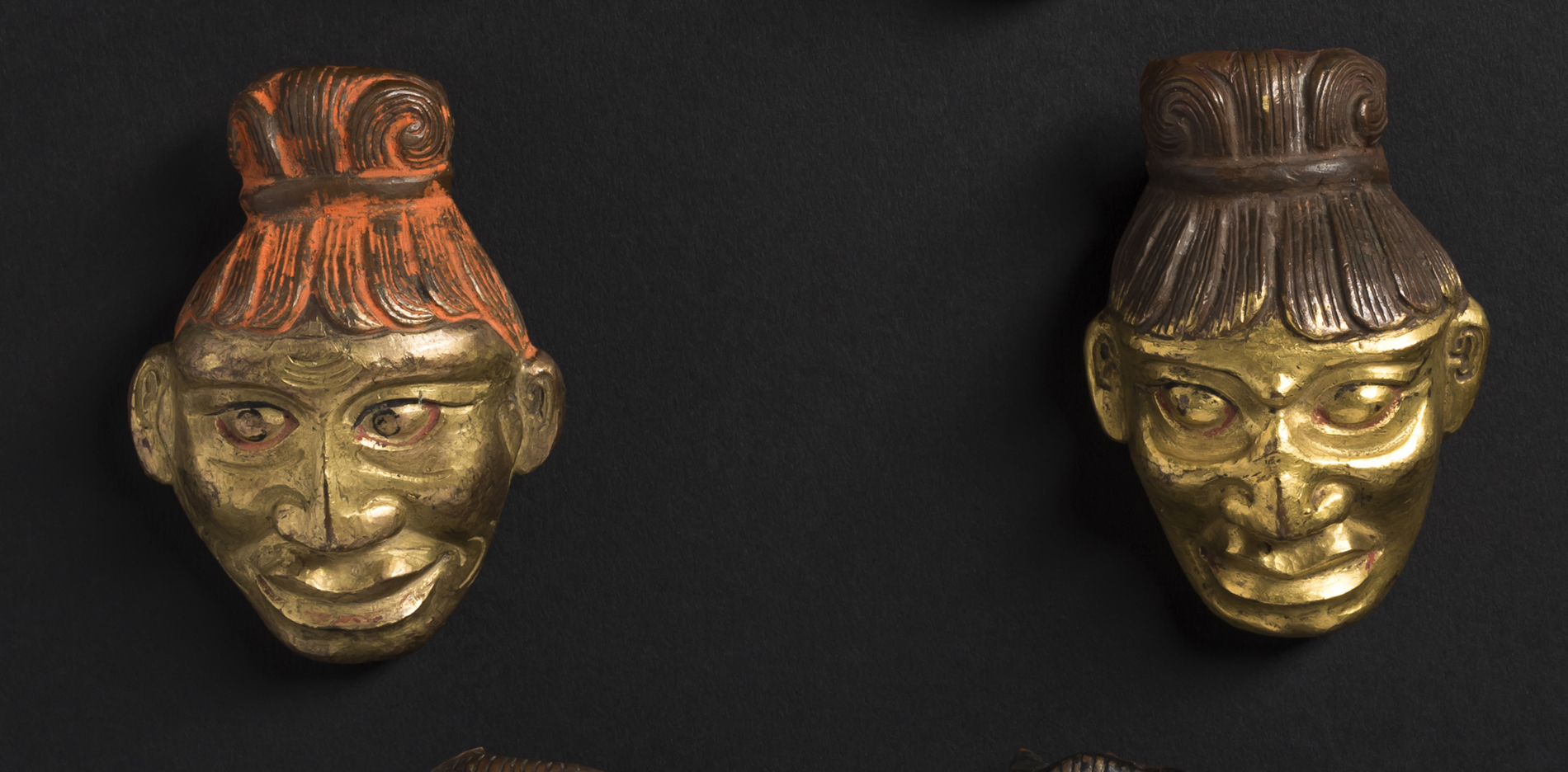 Six Bronze Repousse Heads from Tibet 19th Century
