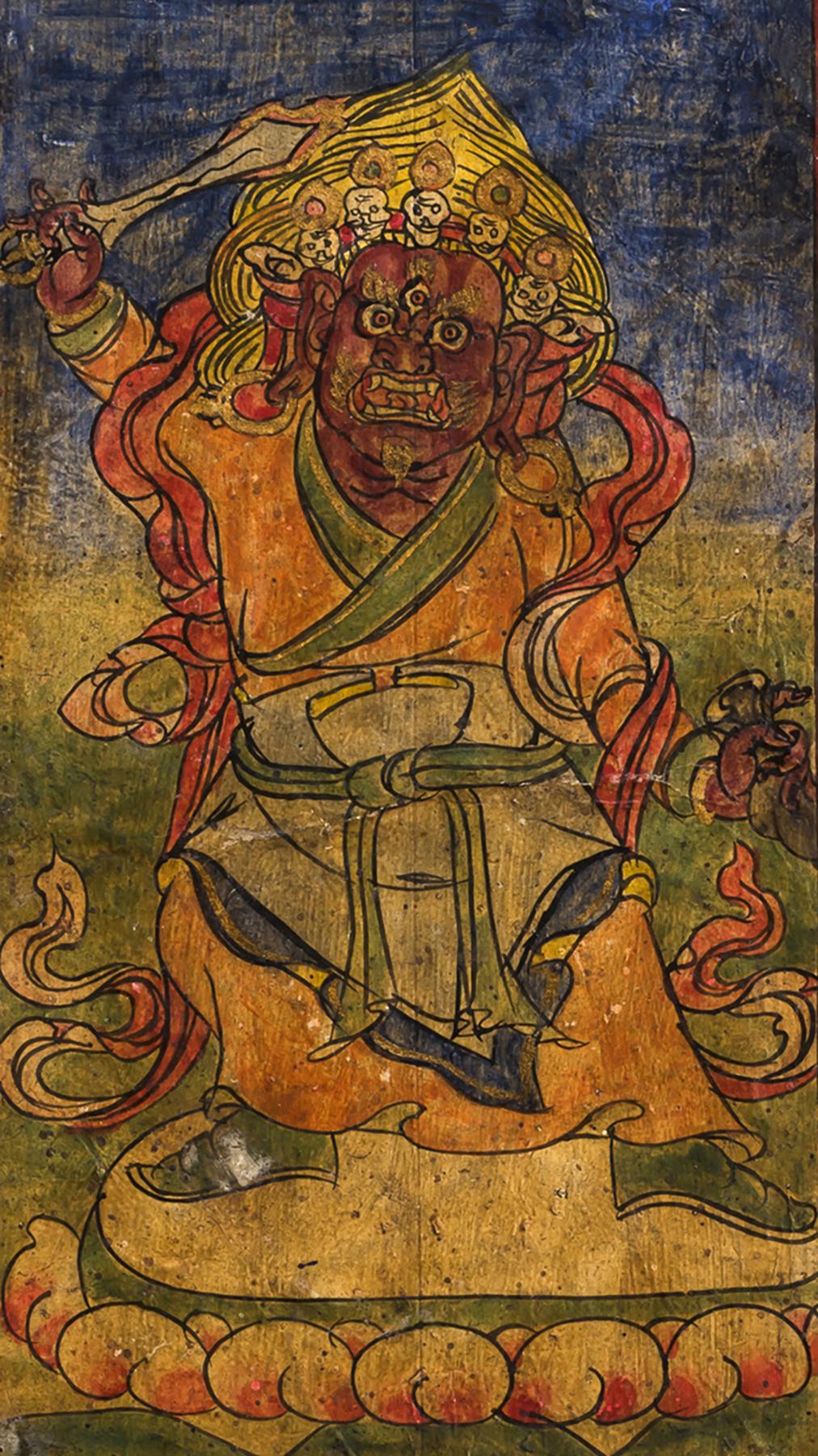 Pair of Large Buddhist Tsakli Painting Bhutan