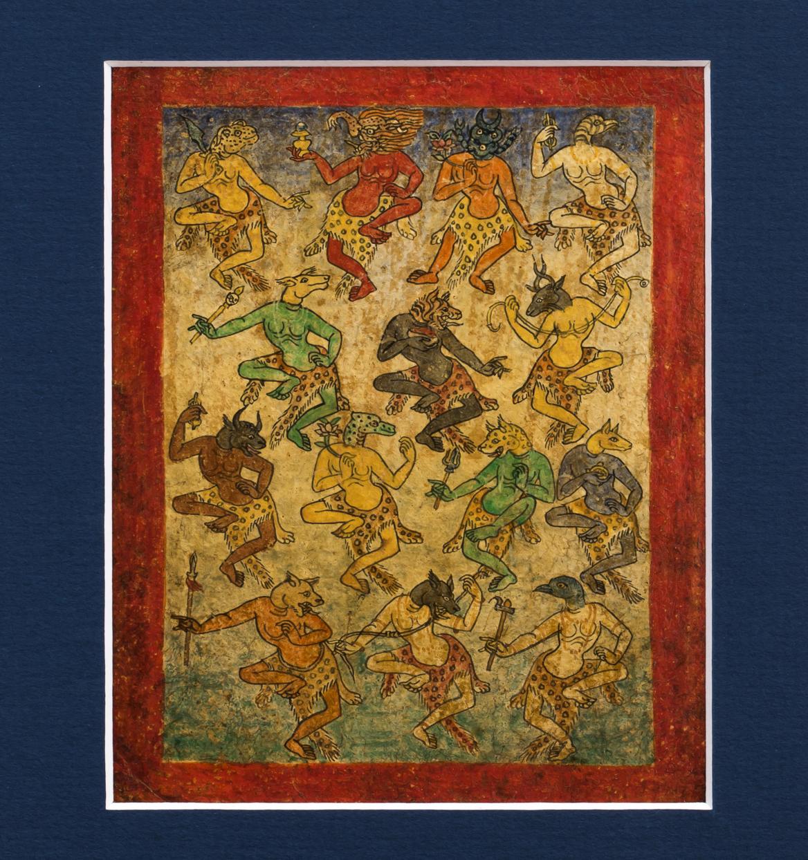 Six Tibetan Tsakli Paintings Teaching Cards of Bardo Deities