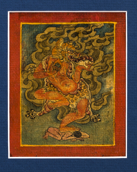 Six Fine Tibetan Buddhist Tsakli Paintings Teaching Cards Depicting Bardo Deities