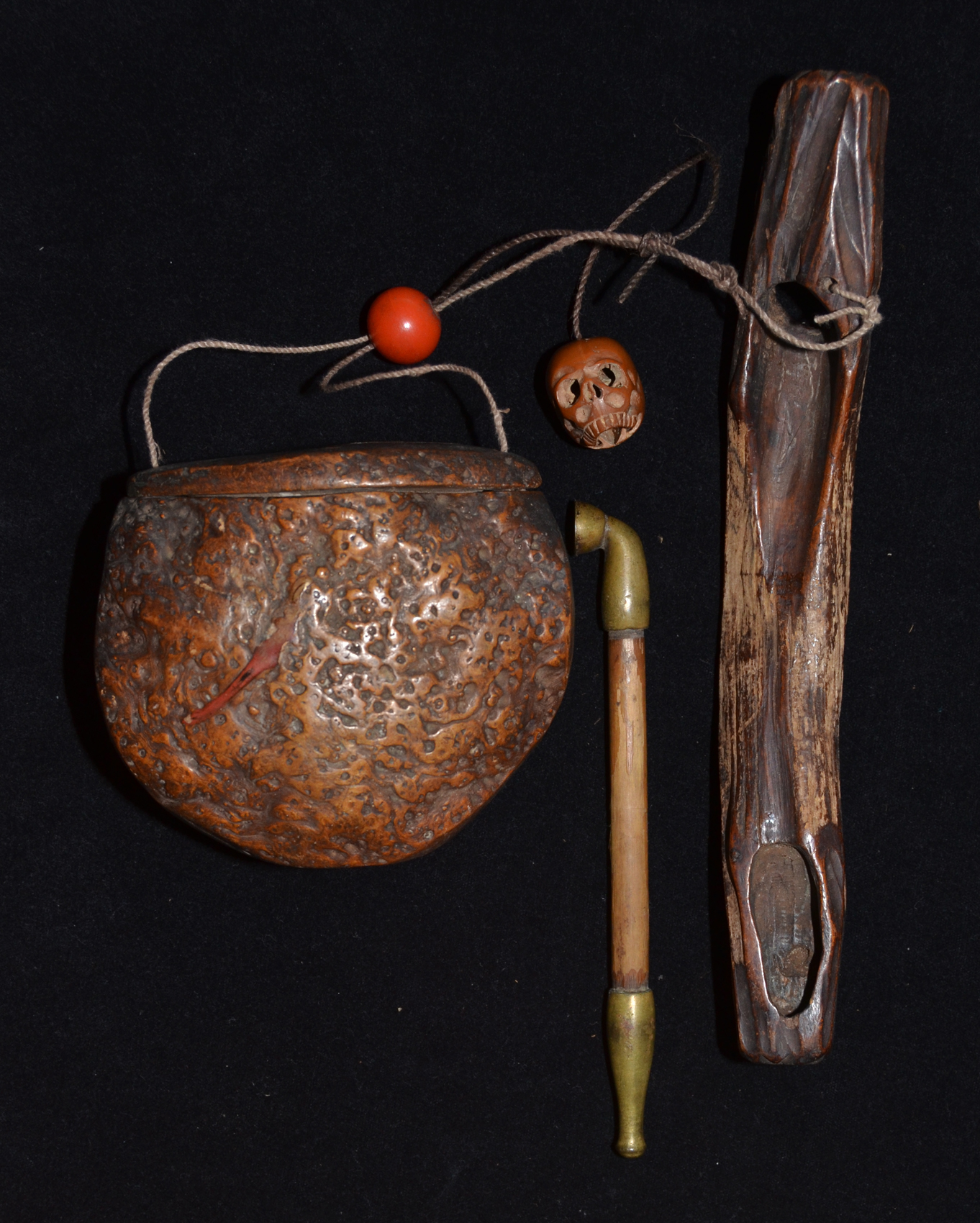 Japanese Antique Tobacco Case with Pipe Holder with Insect design.