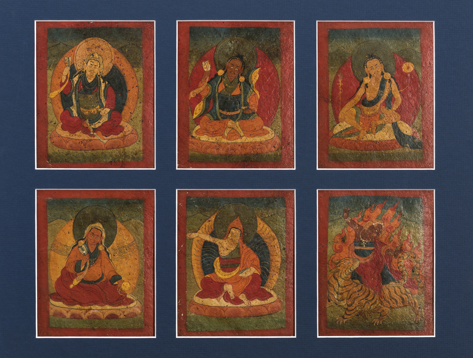 Six Superb Large Size Tibetan Buddhist Tsakli Paintings from the 18th Century