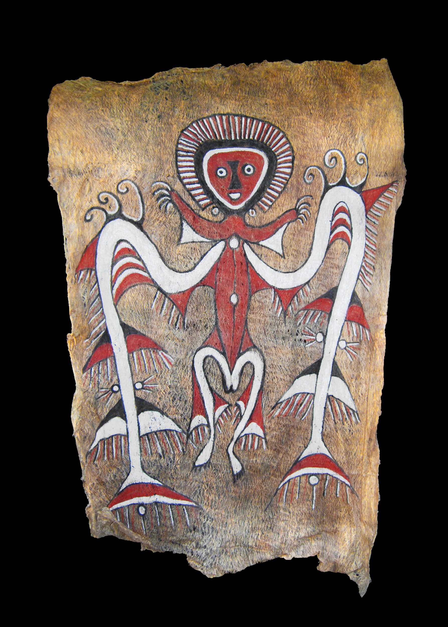 A Superb Large Humboldt Bay Bark Cloth Tapa Painting from West Papua