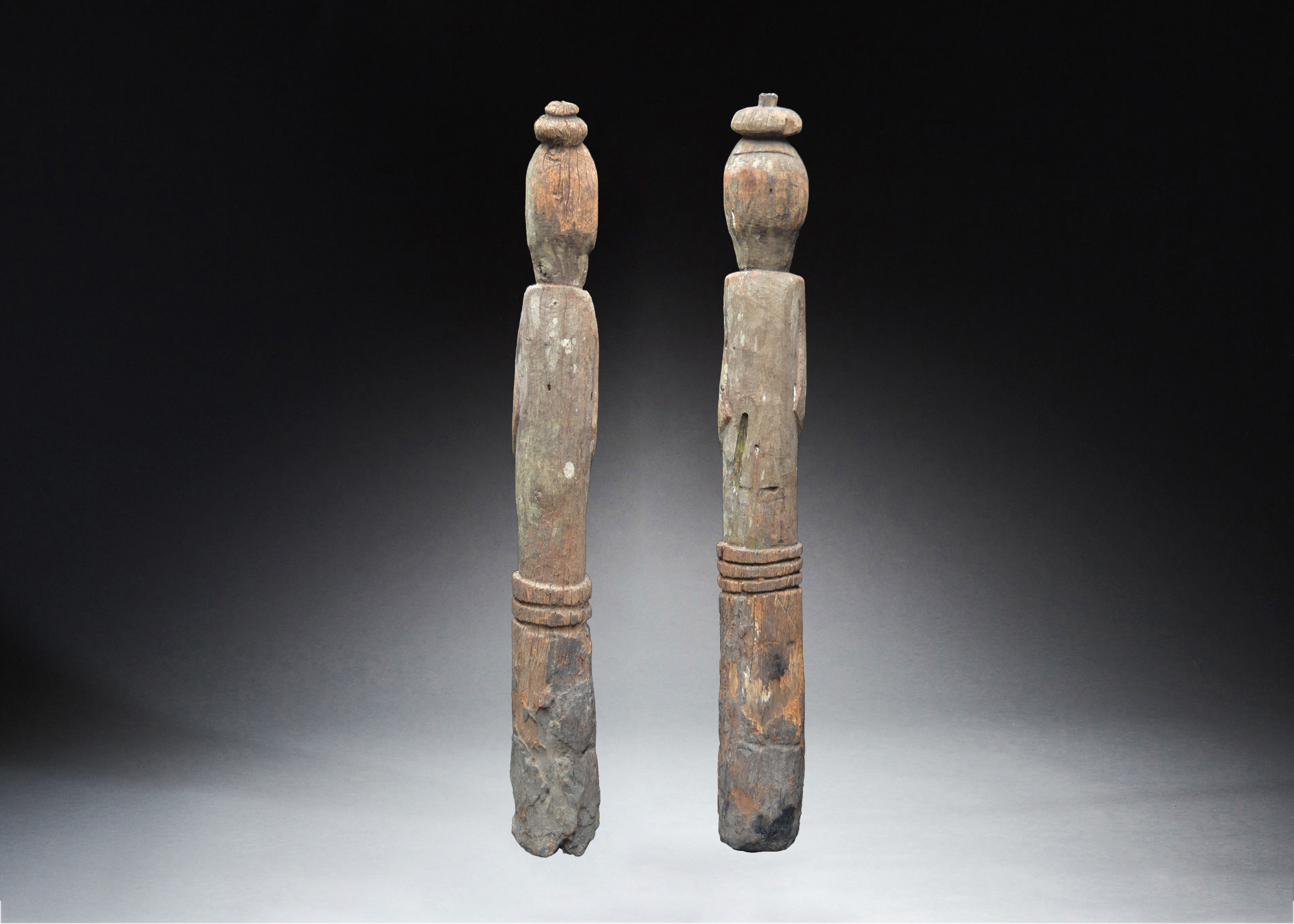 A Fine Pair of Early Ancestor Figures Aitos Area East Timor